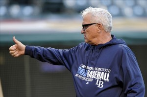 Oct 2, 2013; Cleveland, OH, USA; Tampa Bay Rays manager Joe Maddon prior to the American League wild card playoff game at Progressive Field. Mandatory Credit: David Richard-USA TODAY Sports