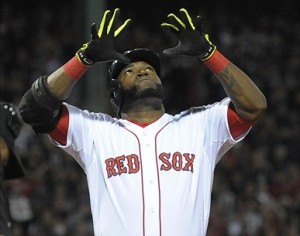 Oct 5, 2013; Boston, MA, USA; Boston Red Sox designated hitter David Ortiz (34) reacts at home plate after hitting a home run during the eighth inning in game two of the American League divisional series playoff baseball game against the Tampa Bay Rays at Fenway Park. Mandatory Credit: Bob DeChiara-USA TODAY Sports