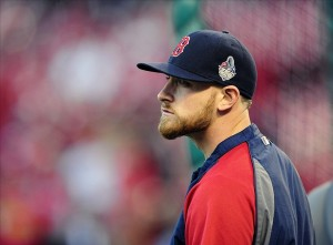 Oct 27, 2013; St. Louis, MO, USA; Boston Red Sox third baseman Will Middlebrooks (16) warms up prior to game four of the MLB baseball World Series against the St. Louis Cardinals at Busch Stadium. Mandatory Credit: Jeff Curry-USA TODAY Sports