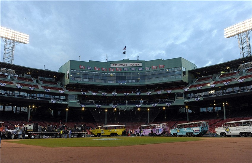 Nov 2, 2013; Boston, MA, USA; Duck boats line up inside of Fenway park prior to the World Series parade and celebration for the Boston Red Sox. Mandatory Credit: Bob DeChiara-USA TODAY Sports