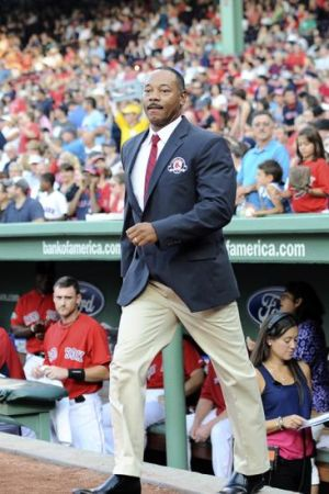 August 3, 2012; Boston, MA, USA; Boston Red Sox former player Ellis Burks is honored as he is inducted in the Red Sox hall of fame prior to a game against the Minnesota Twins at Fenway Park. Mandatory Credit: Bob DeChiara-USA TODAY Sports