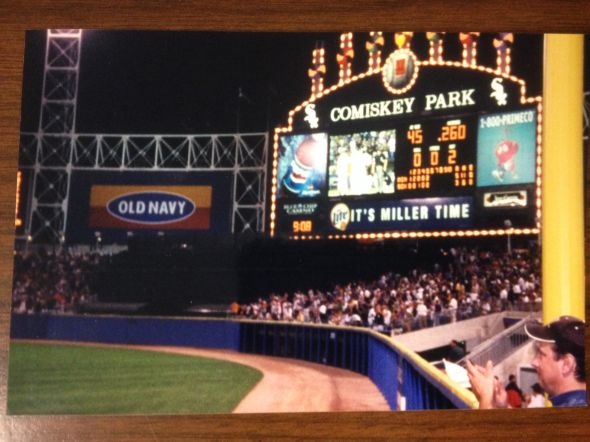 From Sean's nationwide baseball journey -- the Comiskey Park scoreboard in 2002. Photo: Sean Sylver