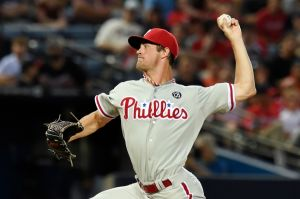 Jul 19, 2014; Atlanta, GA, USA; Philadelphia Phillies starting pitcher Cole Hamels (35) pitches against the Atlanta Braves during the fifth inning at Turner Field. Mandatory Credit: Dale Zanine-USA TODAY Sports