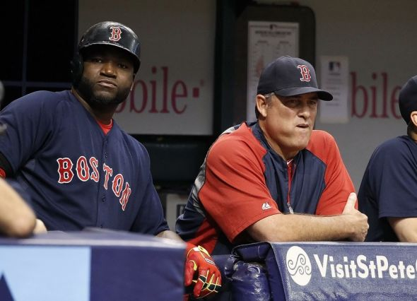 Jul 25, 2014; St. Petersburg, FL, USA; Boston Red Sox designated hitter David Ortiz (34) and manager John Farrell (53) look on from the dugout during the first inning against the Tampa Bay Rays at Tropicana Field. Mandatory Credit: Kim Klement-USA TODAY Sports