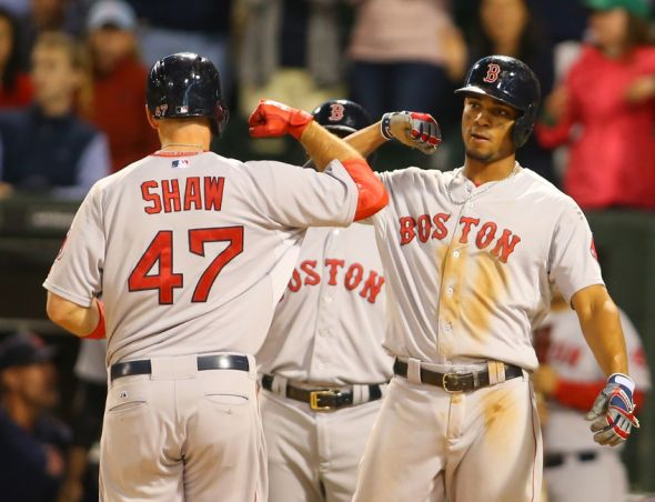 Aug 26, 2015; Chicago, IL, USA; Boston Red Sox first baseman Travis Shaw (47) celebrates with shortstop Xander Bogaerts (2) after hitting a two run home run during the eighth inning against the Chicago White Sox at U.S Cellular Field. The Boston Red Sox defeated the Chicago White Sox 2-0. Mandatory Credit: Caylor Arnold-USA TODAY Sports