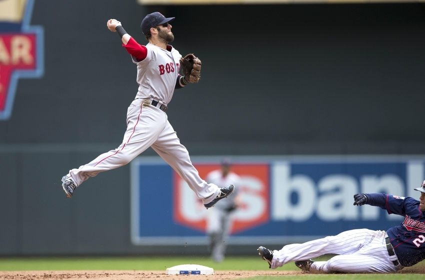 May 15, 2014; Minneapolis, MN, USA; Boston Red Sox second baseman Dustin Pedroia (15) forces out Minnesota Twins second baseman Brian Dozier (2) at second base and throws the ball to first base for a double play in the fourth inning at Target Field. Mandatory Credit: Jesse Johnson-USA TODAY Sports