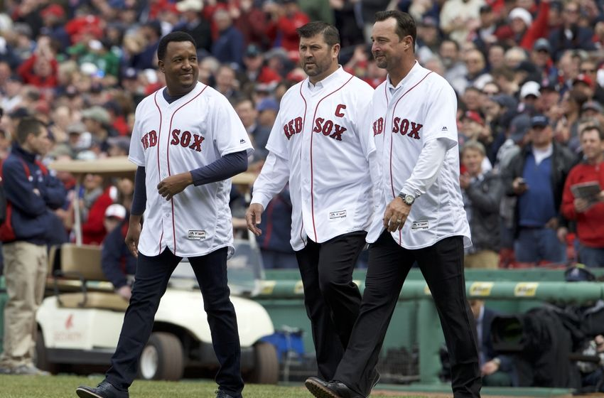 Apr 11, 2016; Boston, MA, USA; Boston Red Sox former players Pedro Mart nez and Jason Varitek and Tim Wakefield take the field before the Red Sox home opener against the Baltimore Orioles at Fenway Park. Mandatory Credit: David Butler II-USA TODAY Sports