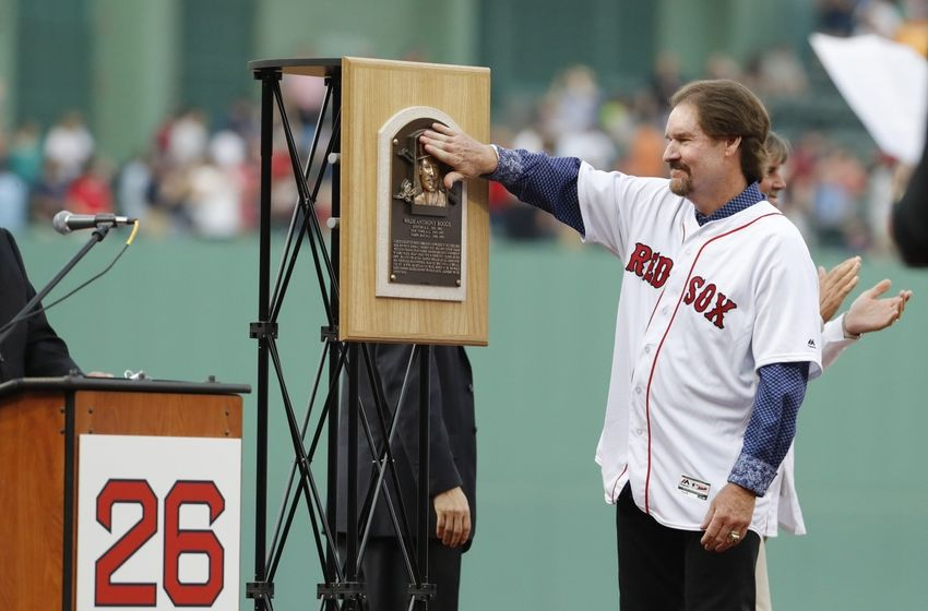 May 26, 2016; Boston, MA, USA; Former Red Sox player Wade Boggs is honored with the retiring of his uniform number 26 before the start of the game against the Colorado Rockies at Fenway Park. Mandatory Credit: David Butler II-USA TODAY Sports