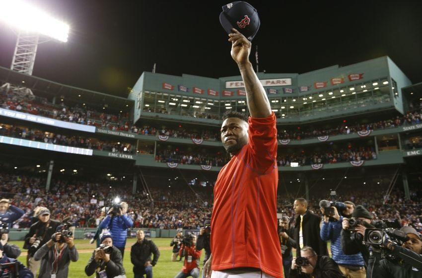 Oct 10, 2016; Boston, MA, USA; Boston Red Sox designated hitter David Ortiz (34) salutes the fans after loosing to the Cleveland Indians 3-4 in game three of the 2016 ALDS playoff baseball series at Fenway Park. Mandatory Credit: Greg M. Cooper-USA TODAY Sports