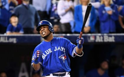 Oct 19, 2016; Toronto, Ontario, CAN; Toronto Blue Jays first baseman Edwin Encarnacion (10) reacts to striking out during the ninth inning against the Cleveland Indians in game five of the 2016 ALCS playoff baseball series at Rogers Centre. Mandatory Credit: Nick Turchiaro-USA TODAY Sports