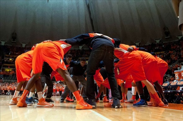 Dec 10, 2013; Champaign, IL, USA; Illinois Fighting Illini huddle before the game against the Dartmouth Big Green at State Farm Center. Mandatory Credit: Bradley Leeb-USA TODAY Sports