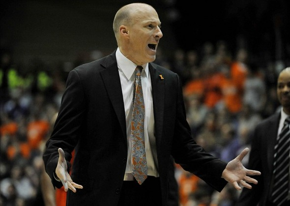 Jan 12, 2014; Evanston, IL, USA; Illinois Fighting Illini head coach John Groce reacts to a call against his team during the second half at Welsh-Ryan Arena. The Northwestern Wildcats defeated the Illinois Fighting Illini 49-43. Mandatory Credit: David Banks-USA TODAY Sports