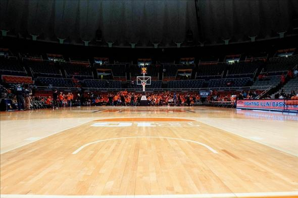 Feb 26, 2014; Champaign, IL, USA; A general view of State Farm Center before the game between the Nebraska Cornhuskers and Illinois Fighting Illini. Mandatory Credit: Bradley Leeb-USA TODAY Sports