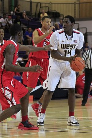 Jul 18, 2013; Washington, DC, Team USA West player Elijah Thomas (14) holds the ball against Team Canada during the Nike Global Challenge at Trinity University. Mandatory Credit: Geoff Burke-USA TODAY Sports