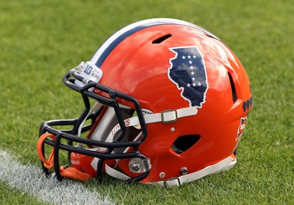 Nov 23, 2013; West Lafayette, IN, USA; Illinois Fighting Illini helmet on the field before the game against the Purdue Boilermakers at Ross Ade Stadium. Mandatory Credit: Pat Lovell-USA TODAY Sports