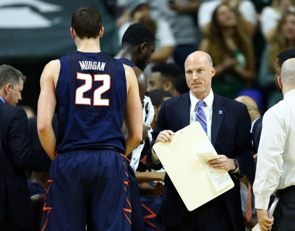 Feb 7, 2015; East Lansing, MI, USA; Illinois Fighting Illini head coach John Groce talks to center Maverick Morgan (22) during the 1st half of a game at Jack Breslin Student Events Center. Mandatory Credit: Mike Carter-USA TODAY Sports