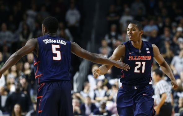 Nov 18, 2015; Providence, RI, USA; Illinois Fighting Illini guard Jalen Coleman-Lands (5) and guard Malcolm Hill (21) celebrate during the first half of a game against the Providence Friars at Dunkin Donuts Center. Mandatory Credit: Mark L. Baer-USA TODAY Sports