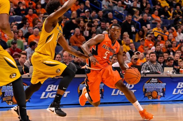 Dec 23, 2015; St. Louis, MO, USA; Illinois Fighting Illini guard Jalen Coleman-Lands (5) drives the ball against the Missouri Tigers during the second half at Scottrade Center. The Illinois Fighting Illini defeat the Missouri Tigers 68-63. Mandatory Credit: Jasen Vinlove-USA TODAY Sports