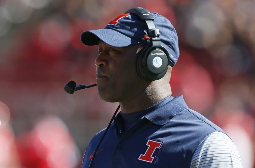 Oct 15, 2016; Piscataway, NJ, USA; Illinois Fighting Illini head coach Lovie Smith looks on during the first half against the Rutgers Scarlet Knights at High Points Solutions Stadium. Mandatory Credit: Noah K. Murray-USA TODAY Sports