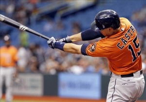 Jul 13, 2013; St. Petersburg, FL, USA; Houston Astros catcher Jason Castro (15) singles during the first inning against the Tampa Bay Rays at Tropicana Field. Mandatory Credit: Kim Klement-USA TODAY Sports