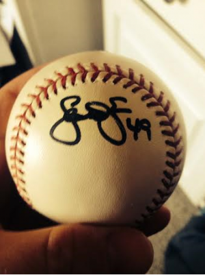 My Scott Feldman autographed baseball, from a AA rehab start in 2011 with the Frisco RoughRiders (Rangers)