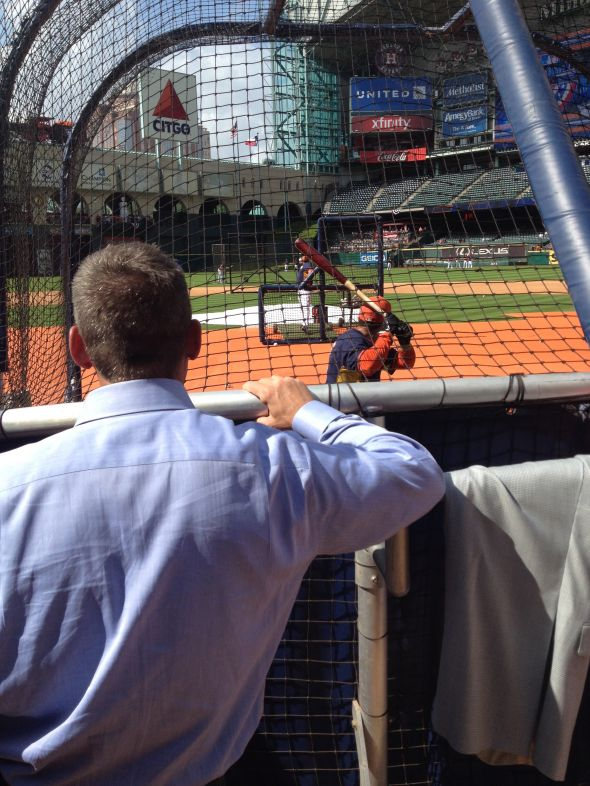 Craig Biggio watches Jose Altuve take Batting Practice