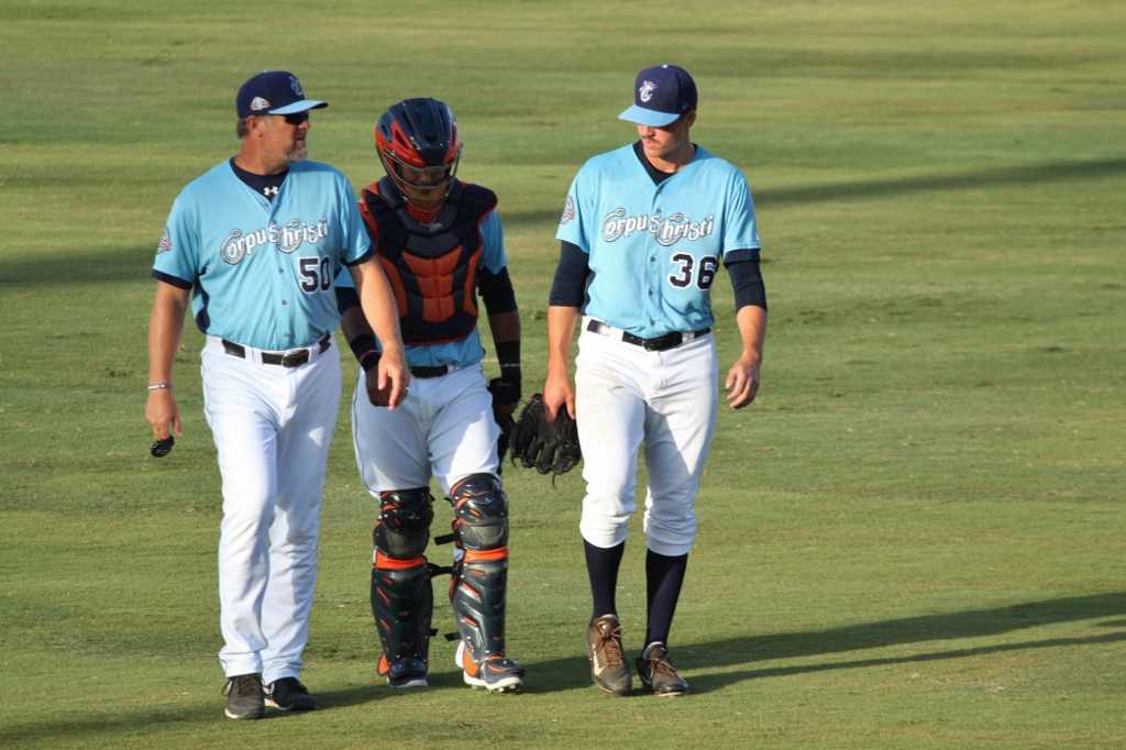 Mark Appel talks with Rene Garcia and Doug Brocail - photo by Tammy Tucker