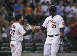 Chris Carter and Jose Altuve (Troy Taormina-USA TODAY Sports)