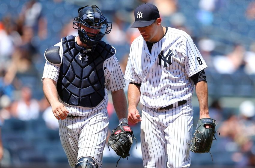 Jul 24, 2016; Bronx, NY, USA; New York Yankees catcher Brian  McCann (34) talks to New York Yankees starting pitcher <a rel=