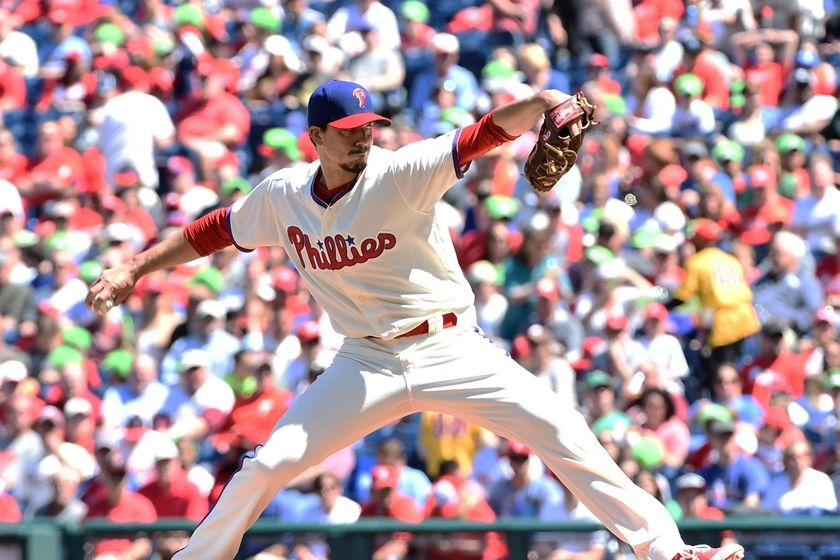 Apr 17, 2016; Philadelphia, PA, USA; Philadelphia Phillies starting pitcher Charlie Morton (47) throws a pitch during the first inning against the Washington Nationals at Citizens Bank Park. Mandatory Credit: Eric Hartline-USA TODAY Sports