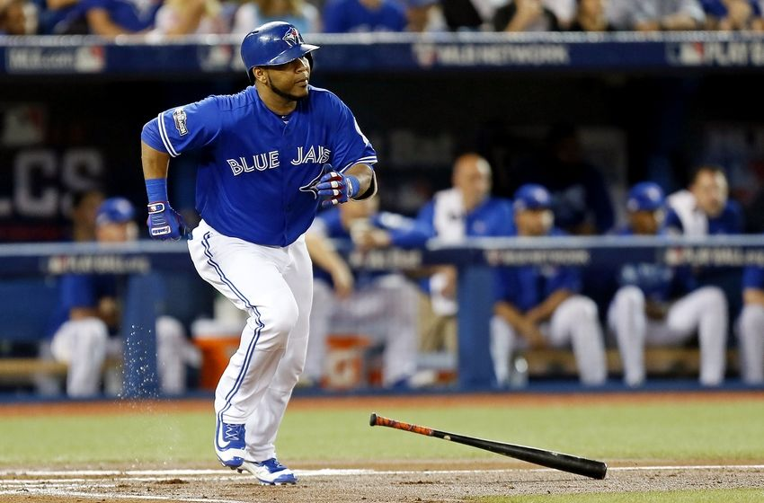 Oct 18, 2016; Toronto, Ontario, CAN; Toronto Blue Jays first baseman Edwin Encarnacion (10) hits a single during the first inning against the Cleveland Indians in game four of the 2016 ALCS playoff baseball series at Rogers Centre. Mandatory Credit: John E. Sokolowski-USA TODAY Sports