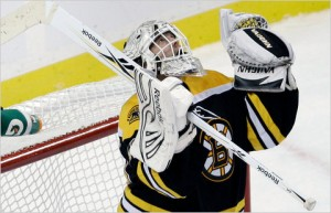 Tim Thomas recorded the best goaltending season of all-time in 2011; Mandatory Credit: Charles Krupa/Associated Press