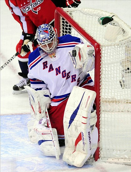 Mar 10, 2013; Washington, DC, USA; New York Rangers goalie Martin Biron (43) records a save during the second period of the game against the Washington Capitals at Verizon Center. Mandatory Credit: Evan Habeeb-USA TODAY Sports