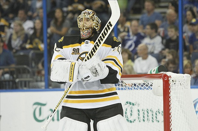 Oct 19, 2013; Tampa, FL, USA; Boston Bruins goalie Tuukka Rask (40) against the Tampa Bay Lightning during the second period at Tampa Bay Times Forum. Mandatory Credit: Kim Klement-USA TODAY Sports