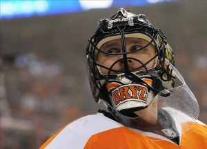 Apr 18, 2013; Philadelphia, PA, USA; Philadelphia Flyers goalie Ilya Bryzgalov (30) against the New Jersey Devils during the third period at the Wells Fargo Center. The Devils defeated the Flyers, 3-0. Mandatory Credit: Eric Hartline-USA TODAY Sports