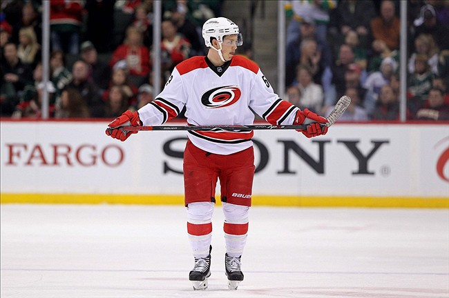 Oct 24, 2013; Saint Paul, MN, USA; Carolina Hurricanes forward Jeff Skinner (53) against the Minnesota Wild at Xcel Energy Center. The Wild defeated the Hurricanes 3-1. Mandatory Credit: Brace Hemmelgarn-USA TODAY Sports