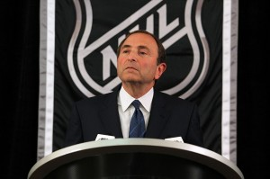 September 13, 2012; New York, NY, USA; NHL commissioner Gary Bettman speaks during a press conference at the Crowne Plaza Times Square. Mandatory Credit: Brad Penner-USA TODAY Sports