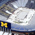 Dec 19, 2013; Ann Arbor, MI, USA; An aerial view of the ice surface under construction in Michigan Stadium in advance of the 2014 Winter Classic hockey game to be held on January 1, 2014. Mandatory Credit: Andrew Weber-USA TODAY Sports