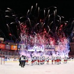 Jan 29, 2014; New York City, NY, USA; Fireworks go off as the New York Rangers celebrate after defeating the New York Islanders 2-1 in the Stadium Series hockey game at Yankee Stadium. Mandatory Credit: Ed Mulholland-USA TODAY Sports