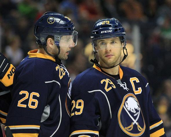 Thomas Vanek (26) - Jason Pominville (29) Mandatory Credit: Kevin Hoffman-USA TODAY Sports