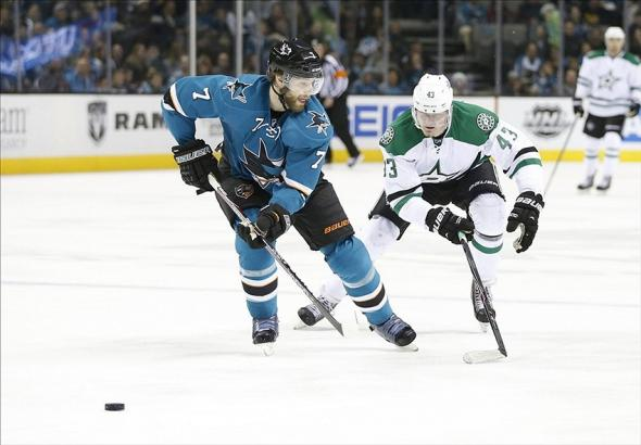 Dec 21, 2013; San Jose, CA, USA; San Jose Sharks defenseman Brad Stuart (7) defends against Dallas Stars right wing Valeri Nichushkin (43) during the second period at SAP Center at San Jose. Mandatory Credit: Bob Stanton-USA TODAY Sports