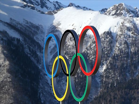 Feb 7, 2014; Krasnaya Polyana, RUS; General view of the Olympic rings and the mountains of Krasnaya Polyana during the Sochi 2014 Olympic Winter Games. Mandatory Credit: Angie Walton-USA TODAY Sports