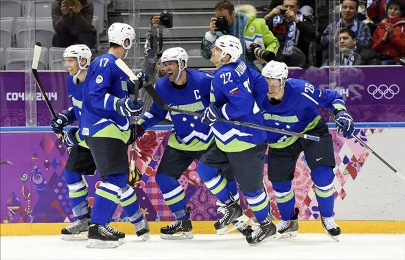 Slovenia men's hockey team blue jerseys. From USA Today Sports Images
