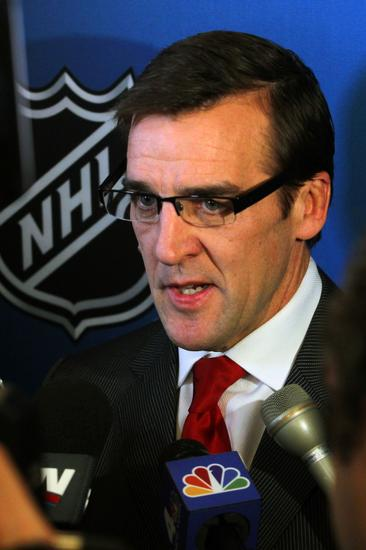 January 9, 2013; New York, NY, USA; Washington Capitals vice president and general manager George McPhee addresses the National Hockey League lockout during a press conference at the Westin New York in Times Square. Mandatory Credit: Brad Penner-USA TODAY Sports