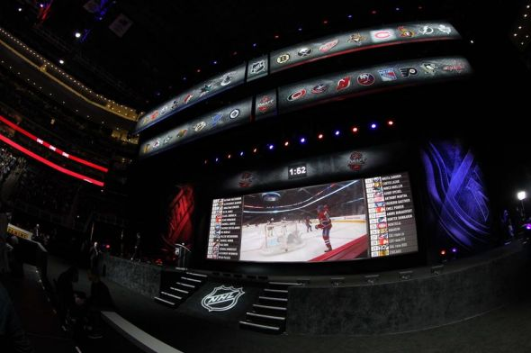 Jun 30, 2013; Newark, NJ, USA; A general view of the stage between picks during the 2013 NHL Draft at the Prudential Center. Mandatory Credit: Ed Mulholland-USA TODAY Sports