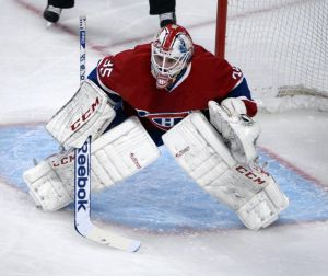 May 19, 2014; Montreal, Quebec, CAN; Montreal Canadiens goalie Dustin Tokarski (35) during the second period in game two of the Eastern Conference Final of the 2014 Stanley Cup Playoffs against the New York Rangers at the Bell Centre. Mandatory Credit: Eric Bolte-USA TODAY Sports