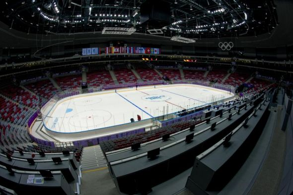 Feb 1, 2014; Sochi, RUSSIA; General view of Bolshoy Ice Dome in Olympic Park prior to 2014 Sochi Winter Olympic Games. Mandatory Credit: Kevin Liles-USA TODAY Sports