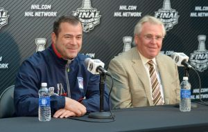 Jun 3, 2014; Los Angeles, CA, USA; New York Rangers coach Alain Vigneault (left) and general manager Glen Sather during media day before game one of the 2014 Stanley Cup Final against the Los Angeles Kings at Staples Center. Mandatory Credit: Kirby Lee-USA TODAY Sports