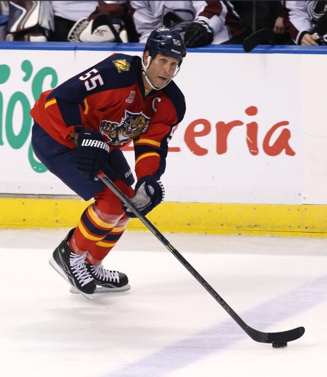 Jan 24, 2014; Sunrise, FL, USA; Florida Panthers defenseman Ed Jovanovski (55) skates with the puck in the second period of a game against the Colorado Avalanche at BB&T Center. Mandatory Credit: Robert Mayer-USA TODAY Sports