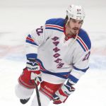 May 17, 2014; Montreal, Quebec, CAN; New York Rangers center Brian Boyle (22) before game one against the Montreal Canadiens of the Eastern Conference Finals of the 2014 Stanley Cup Playoffs at Bell Centre. Mandatory Credit: Jean-Yves Ahern-USA TODAY Sports